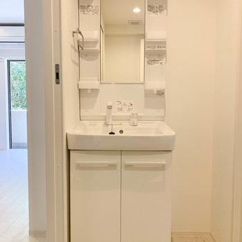 独立洗面台。右側と左側でお互いのものを置きましょう。