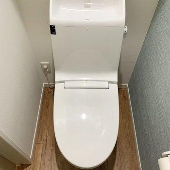 トイレのクロスがキュート。