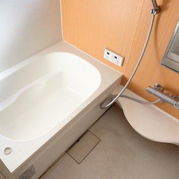 お風呂のクロス、オレンジで元気もらえそう〜。