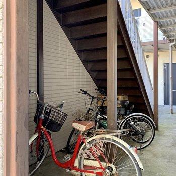 自転車もここに置くようです。