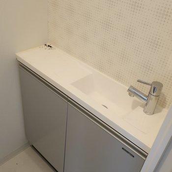素敵な手洗い場までも!※写真は17階の同間取り別部屋、通電前・清掃前のものです