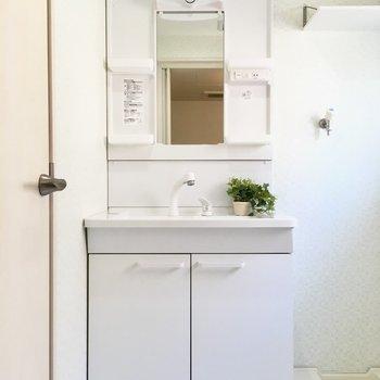 洗面台は独立タイプ。もちろん水回りは新品ですよ。(※写真の小物は見本です)