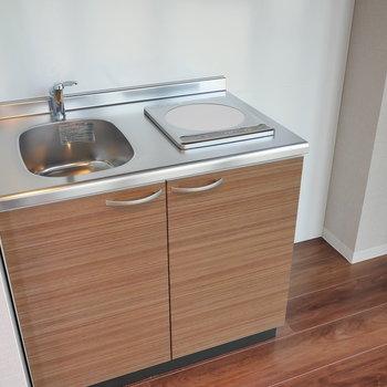 コンパクトなキッチン。 右手に冷蔵庫を。 ※写真は5階の同間取り別部屋のものです