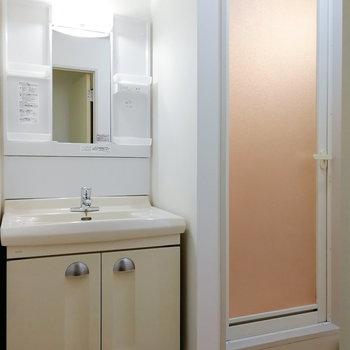 一風変わったデザインの洗面台。