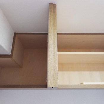 上にもあります。シーズンオフの靴は上にしまおう※写真は4階の同間取り別部屋のものです