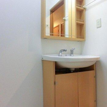 洗濯地置き場が隣に、洗面台下の扉の見た目が不格好ですね(※写真は1階の同間取り別部屋のものです)