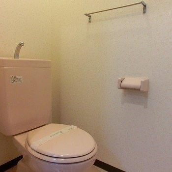 トイレには作りつけ棚もあります(※写真は1階の同間取り別部屋のものです)