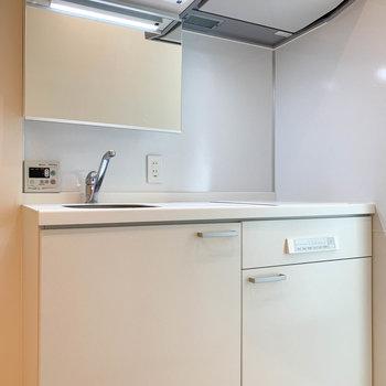 キッチン兼洗面台。合理的な作りで良いなあ。