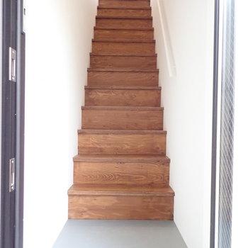 階段を降りると玄関、靴は脱いで上がりましょうね。