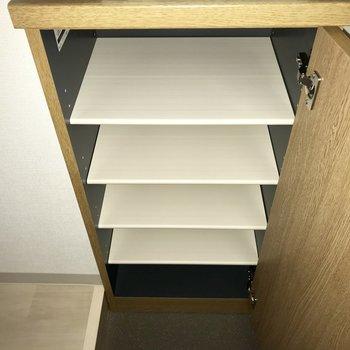 5足ほど、入るかな。※フラッシュを使用しています※写真は8階反転間取り別部屋のものです