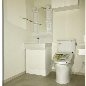サニタリーはぎゅぎゅっと。※フラッシュを使用しています※写真は8階反転間取り別部屋のものです