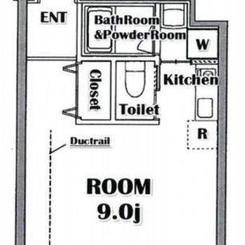 9帖ほどある1Rのお部屋。
