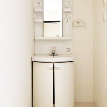 洗面台の右横に収納棚を置くと便利です。