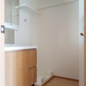サニタリーは後ろもゆとりがありますよ※写真は3階の反転間取り別部屋のものです