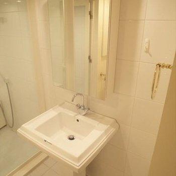 特徴のある形の洗面台!※写真は3階の反転間取り別部屋のものです