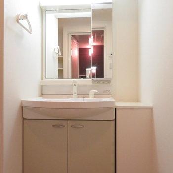 洗面台は収納たっぷり。横のスペースもいいですね(※写真は7階の反転間取り別部屋のものです)