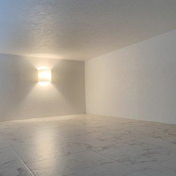きれいめの照明もついてる広々スペース。ゆかはツルッとしています。