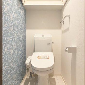 トイレはウォシュレットと収納棚付き〜