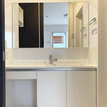 大きな鏡が嬉しい独立洗面台。