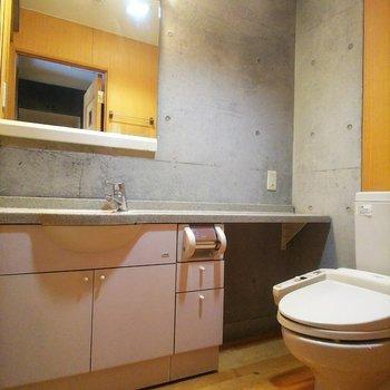 【下階】脱衣所の中にトイレがあります。
