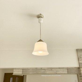 キッチン前にはこんな可愛らしい照明が