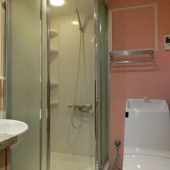 すけすけのシャワールーム※写真は1階の同間取り別部屋のものです