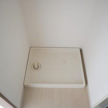 洗濯機だけが置けます※写真は通電前のものです