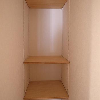 トイレの右脇に、こんな収納スペースがありました。 ※写真は4階の似た間取り別部屋のものです