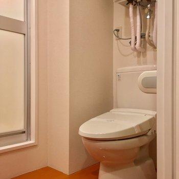 トイレも同じスペースにありましたよ※写真は3階の同間取り別部屋のものです