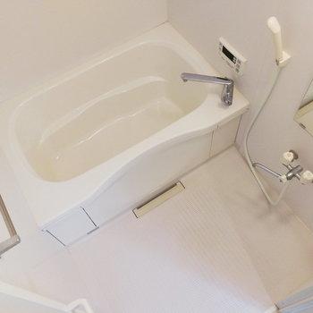 お風呂はひとり分くらいですね。※写真は2階の反転間取り別部屋のものです※写真はクリーニング前のものです
