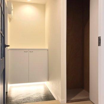 玄関周りにはこんな収納も。掃除用品の保管にちょうどいいです。