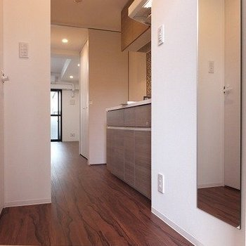 天井までのシューズクローゼット、反対には全身鏡あり。※写真は2階の同間取り別部屋のものです