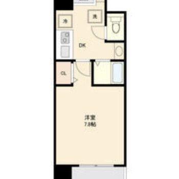 7.8帖の洋室とキッチンの1K。