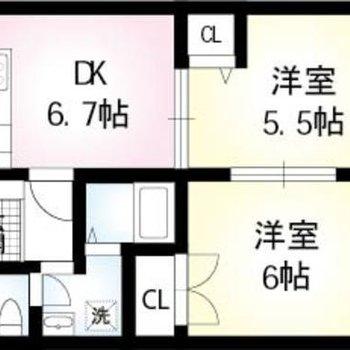 お部屋の間を襖で仕切れる、2DKのお部屋です。