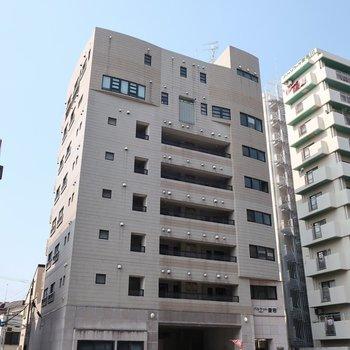 大通り沿いの大きなマンション
