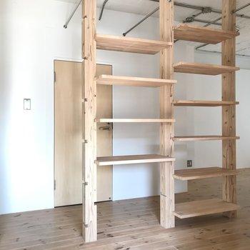 次はサニタリーへ。あの棚は雑貨を飾ったり、ボックスにタオルを入れてもいいなぁ