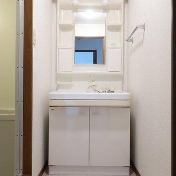 ゆったり洗面台は身支度も楽にできますね※写真は2階の反転間取り別部屋のものです