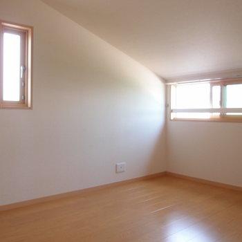 【洋室2】勾配が面白い。屋根裏みたいだな