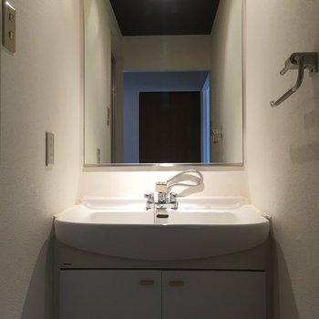 洗面台の大きな鏡がうれしいですね