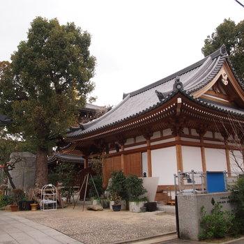 近くにはお寺がありました