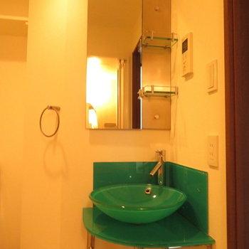 緑がかっこいい洗面台※写真は8階の反転間取り別部屋のものです。