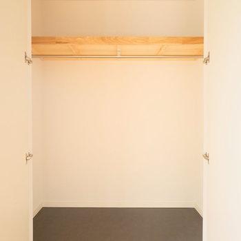 開き戸の収納はリビング、キッチン後ろの居室にそれぞれ1箇所づつあります。※写真は反転で似た間取りの別部屋