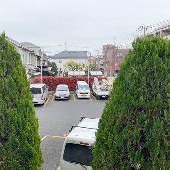 こちら【洋室7.8帖】からの眺望です。木々とパーキング。