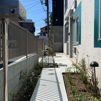 1階、玄関前のエリアはお隣さんと繋がっています。