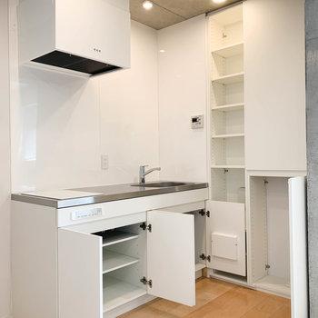 キッチン収納。横に棚もあるので、中々の収納力。