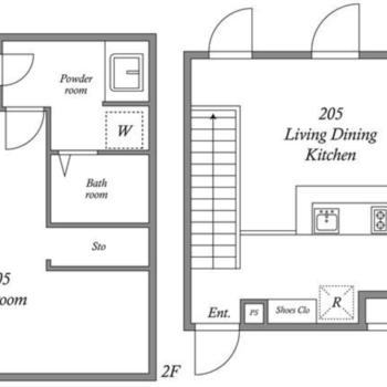 ベッドルームだけだともったいないと思ってしまうスペースが。。※フロアの表記が逆になっています