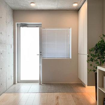 玄関部分です。ドアがスモークガラスなので、光は入るけど外からは見えない構造。素晴らしい。
