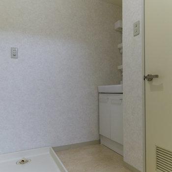 次は水回り。左から洗濯機置場、洗面台、トイレです。トイレの反対側がお風呂です。