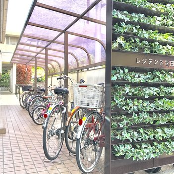 自転車置き場はこちら。