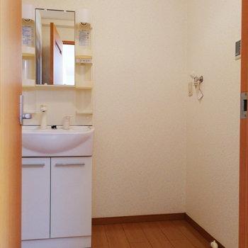脱衣所は居室にくっついていますよ。なかなか広い!